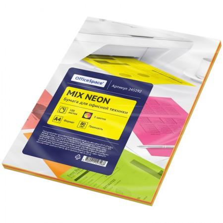 Бумага цветная OfficeSpace neon mix А 4, 80 г / м 2, 100 листов 5 цветов